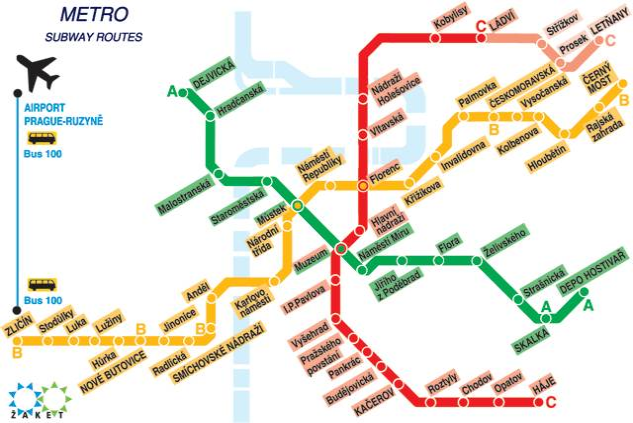 mappa metro praga da