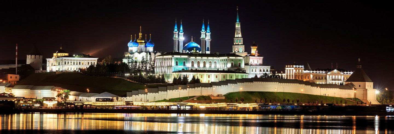 Tour noturno por Kazan iluminada