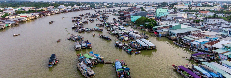 Mercado flutuante + Ilha Tan Phong